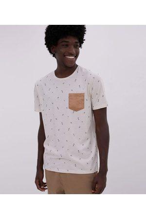 Blue Steel Camiseta Estampa Micro Ícones com Bolso em Suede       M