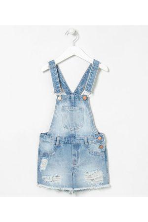 Fuzarka Jardineira Infantil em Jeans com Puídos - Tam 5 a 14 anos | | | 11-12