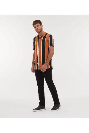 Request Homem Camisa Manga Curta - Camisa Slim Manga Curta com Listras | | Multicores | M