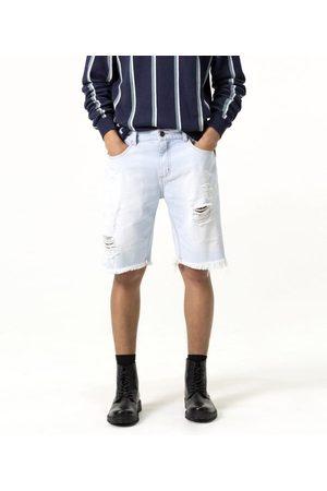 Blue Steel Bermuda Jeans Básica com Puídos | | | 44
