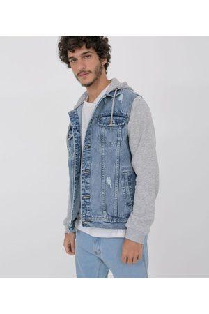 Blue Steel Homem Jaqueta Jeans - Jaqueta Jeans com Mangas e Capuz em Moletom | | | PP