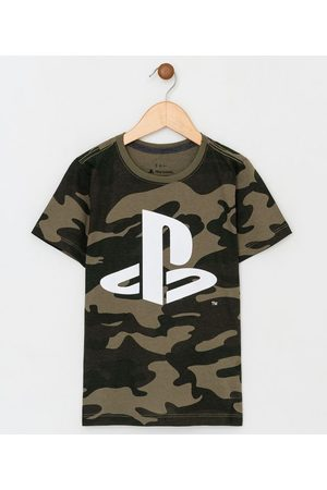 Playstation 3 Camiseta Infantil Camuflado - Tam 5 a 14 | | escuro | 7-8