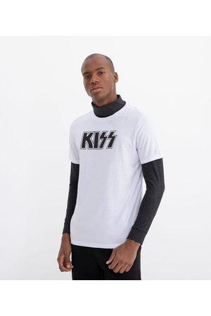 Kiss Homem Camisolas de Manga Curta - Camiseta com Estampa       M