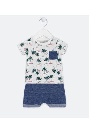 Teddy Boom (0 a 18 meses) Criança Conjuntos - Conjunto Infantil Camiseta Estampa Coqueiros Bermuda Saruel - Tam 0 a 18 meses       0-3M