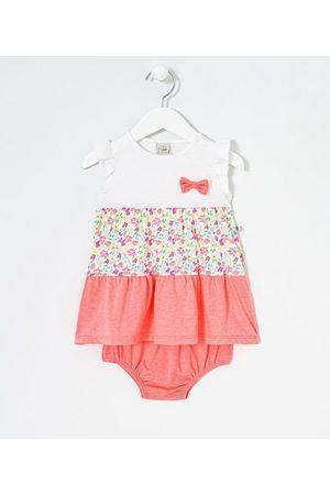 Teddy Boom (0 a 18 meses) Vestido Infantil Estampa Floral Neon com Calcinha - Tam 0 a 18 meses | | | 9-12M