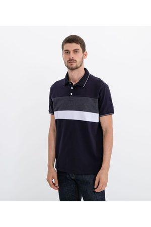 Marfinno Camisa Polo Manga Curta com Recorte Listrado       P