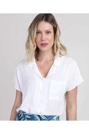 YESSICA Camisa Feminina com Bolso Manga Curta Off White