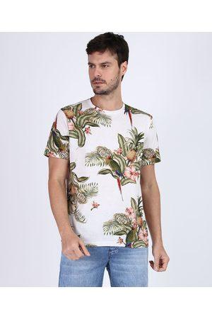 Clockhouse Camiseta Masculina Estampada de Folhagens Manga Curta Gola Careca Off White