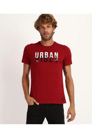 "AL Contemporâneo Homem Manga Curta - Camiseta Masculina Urban Vibes"" Manga Curta Gola Careca Vermelha"""