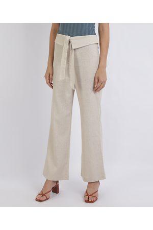 YESSICA Calça Feminina Pantalona Cintura Super Alta Cós Dobrado com Amarração Claro
