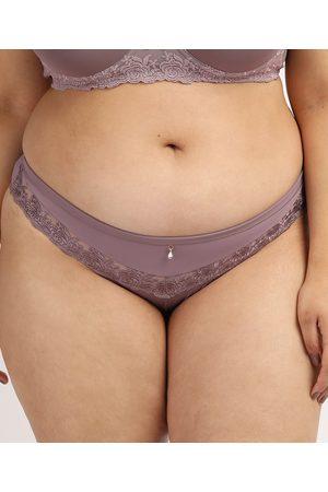 Dilady Mulher Bikini - Calcinha Feminina Plus Size Biquíni em Microfibra com Renda Lilás