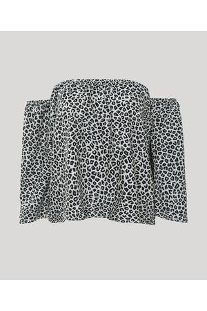 YESSICA Mulher Blusa - Blusa Feminina Ombro a Ombro Estampada Animal Print Onça Manga 7/8 Bege Claro