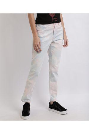 SAWARY Mulher Cintura Alta - Calça Jeans Feminina Skinny Cintura Alta Tie Dye Multicor