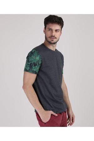 Clockhouse Camiseta Masculina Folhagem na Manga Curta Gola Careca Mescla Escuro
