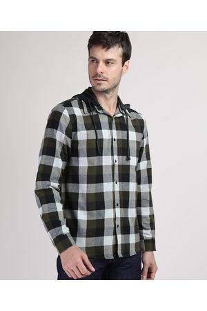 ANGELO LITRICO Camisa de Flanela Masculina Comfort Estampada Xadrez com Capuz Removível Preta