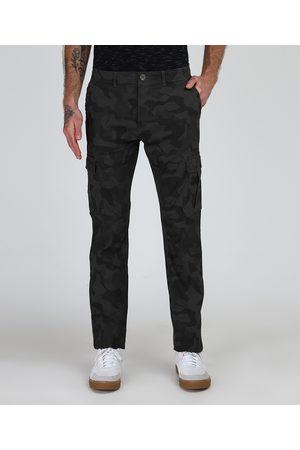 Clockhouse Homem Calças Cargo - Calça Jeans Masculina Slim Estampada Camuflada com Bolsos Verde Militar