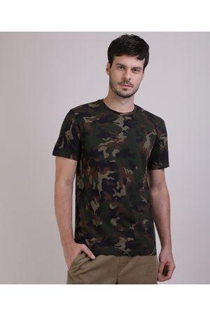 Clockhouse Camiseta Masculina Estampada Camuflada Manga Curta Gola Careca Verde Militar