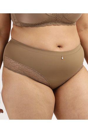 Dilady Mulher Cinto - Calcinha Feminina Plus Size Cintura Alta em Microfibra com Renda