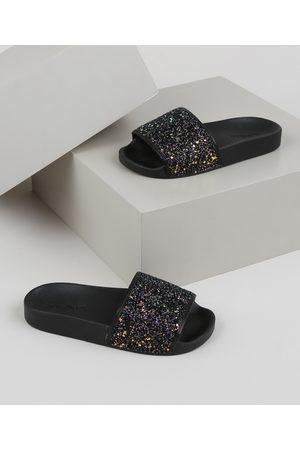 MOLEKINHA Menina Chinelos - Chinelo Slide Infantil com Glitter