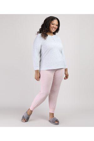 Design Íntimo Mulher Pijamas - Pijama Feminino Plus Size Canelado com Botões Manga Longa Rosa