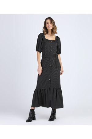 YESSICA Mulher Vestido Médio - Vestido Feminino Midi de Poá com Botões e Recorte Manga Bufante Preto