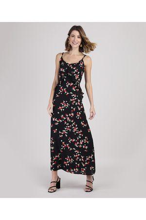 YESSICA Mulher Vestido Estampado - Vestido Feminino Longo Floral com Babado Alça Fina Preto