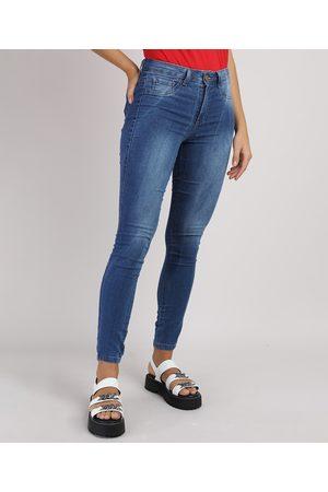 Clockhouse Mulher Calça Skinny - Calça Jeans Super Skinny Cintura Média Energy Jeans Escuro