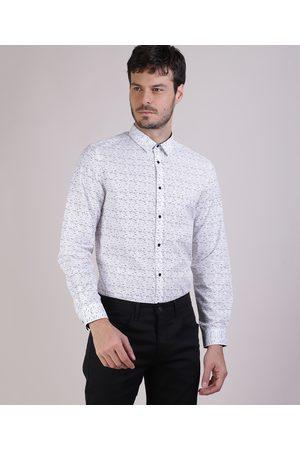 AL Contemporâneo Camisa Masculina Slim Estampada Manga Longa Branca