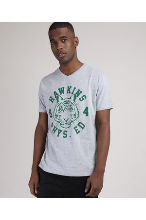 Clockhouse Camiseta Masculina Tigre Manga Curta Gola Careca Mescla
