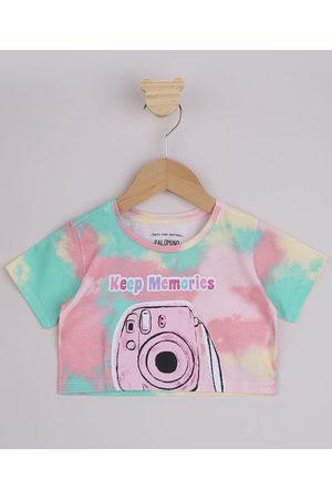 """PALOMINO Menina Manga Curta - Blusa Infantil Cropped Estampada Tie Dye Keep Memories"""" Manga Curta Multicor"""""""