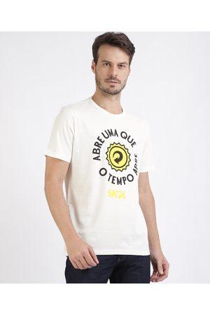 "Ambev Homem Manga Curta - Camiseta Masculina Skol Abre uma que..."" Manga Curta Gola Careca Branca"""