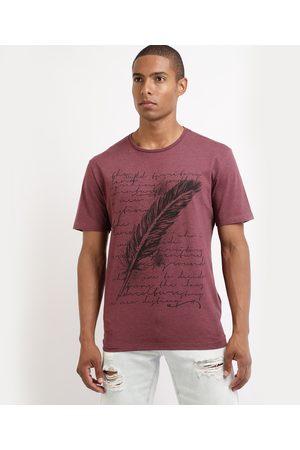 Clockhouse Camiseta Masculina com Estampa de Pena Manga Curta Gola Careca Vinho