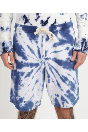 Clockhouse Bermuda de Moletom Masculina Relaxed Estampada Tie Dye Azul