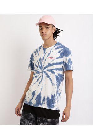 "Clockhouse Camiseta Masculina Estampada Tie Dye Smile"" Gola Careca Manga Curta Azul"""