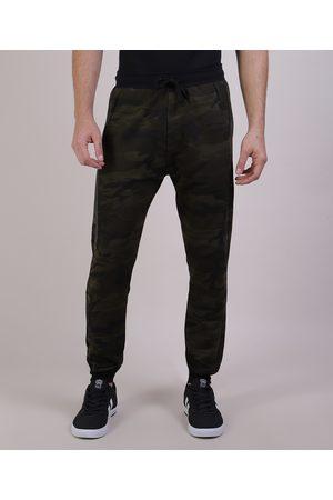 Clockhouse Homem Moletom Completo - Calça Masculina Relaxed Estampada Camuflada em Moletom com Bolsos Verde Militar