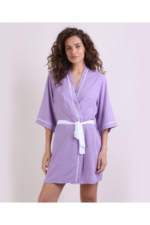 Design Íntimo Mulher Robe - Robe Feminino de Poá Manga 3/4 Lilás