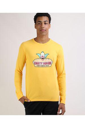 Os Simpsons Homem Manga Curta - Camiseta Masculina Krusty Burger Manga Longa Gola Careca Amarela