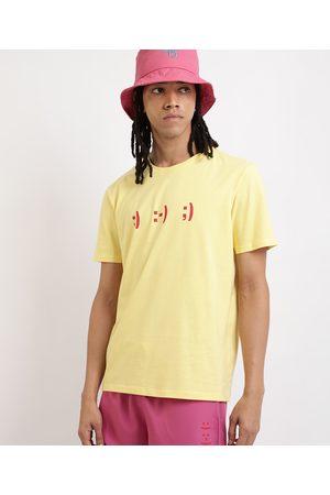 Clockhouse Homem Manga Curta - Camiseta Masculina Emotion Manga Curta Gola Careca Amarela