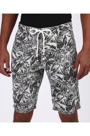 Suncoast Homem Bermuda - Bermuda de Sarja Masculina Reta Estampada de Folhagem com Cordão Cinza