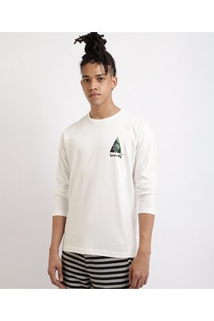 Suncoast Homem Manga Curta - Camiseta Masculina Triângulo com Folhagem Manga Longa Gola Careca Branca