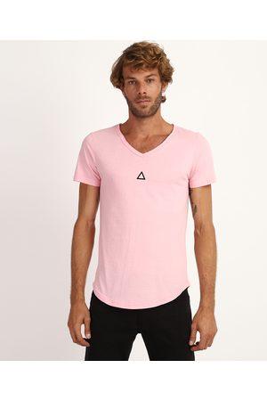 AL Contemporâneo Homem Manga Curta - Camiseta Masculina Slim Mini Triângulo Manga Curta Gola V