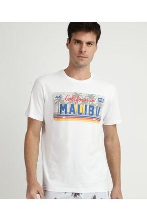 """Suncoast Camiseta Masculina California Malibu"""" Manga Curta Gola Careca Branca"""""""