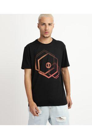 Suncoast Camiseta Masculina Antiviral com Estampa Geométrica Manga Curta Gola Careca Preta