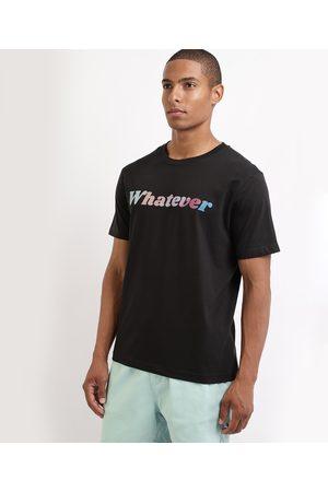 "Clockhouse Camiseta Masculina Whatever"" Manga Curta Gola Careca Preta"""