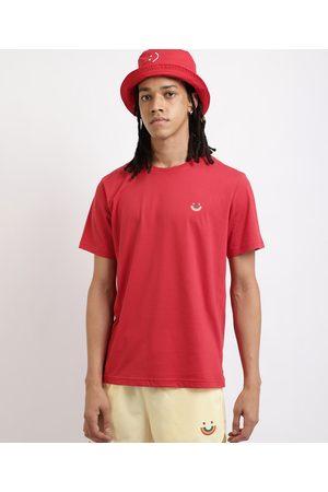 Clockhouse Homem Manga Curta - Camiseta Masculina Sorriso Arco íris Manga Curta Decote Careca Vermelha