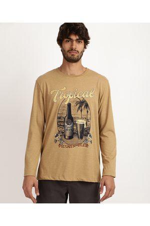 ANGELO LITRICO Camiseta Masculina Tropical Manga Longa Gola Careca