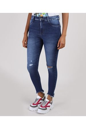 SAWARY Mulher Cintura Alta - Calça Jeans Feminina Super Skinny Lipo Push Up Cintura Alta Escuro