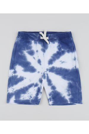 PALOMINO Bermuda de Moletom Juvenil Estampada Tie Dye com Bolsos Azul