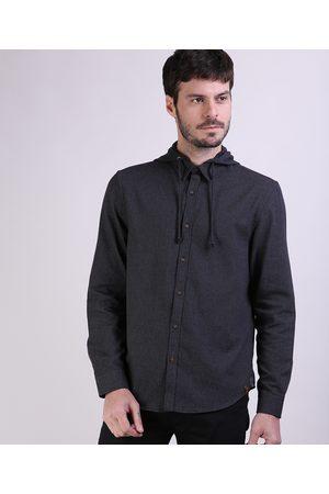 ANGELO LITRICO Homem Camisa Casual - Camisa de Flanela Masculina Comfort com Capuz Removível Manga Longa Mescla Escuro