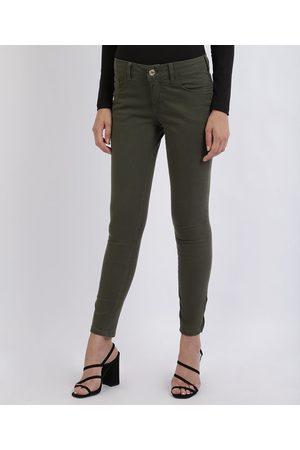 YESSICA Calça Jeans Feminina Super Skinny Cintura Média Com Bolsos e Zíper Militar